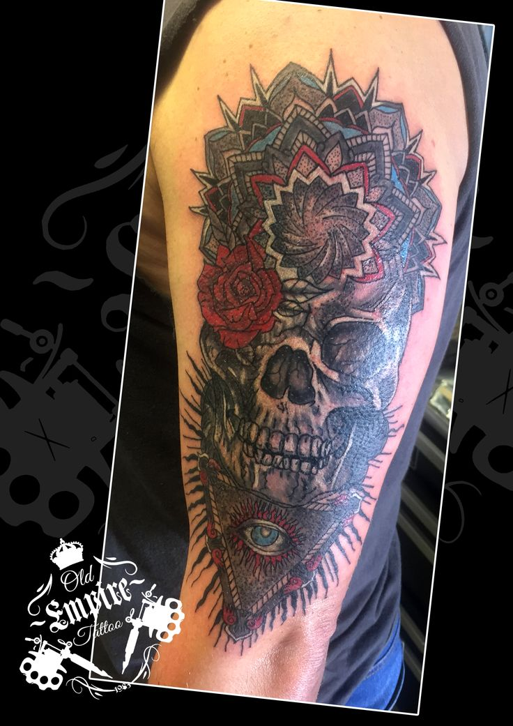 Really enjoyed this project for covering up the old cross with #AllSeeingEye #Skull #RoseEye #Mandala #Colour #BlacknGrey #Tattoo #Dotwork #OldEmpireTattoo #InkLife #Coils4Life #LittleHulton #Salford