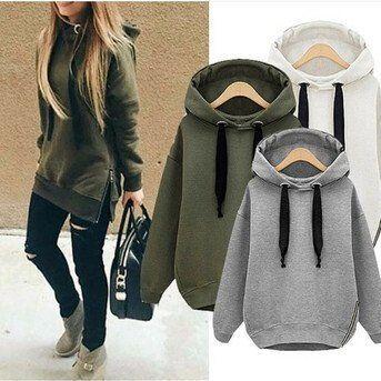 Loose zipper hooded Sweater Tops Sweatshirts