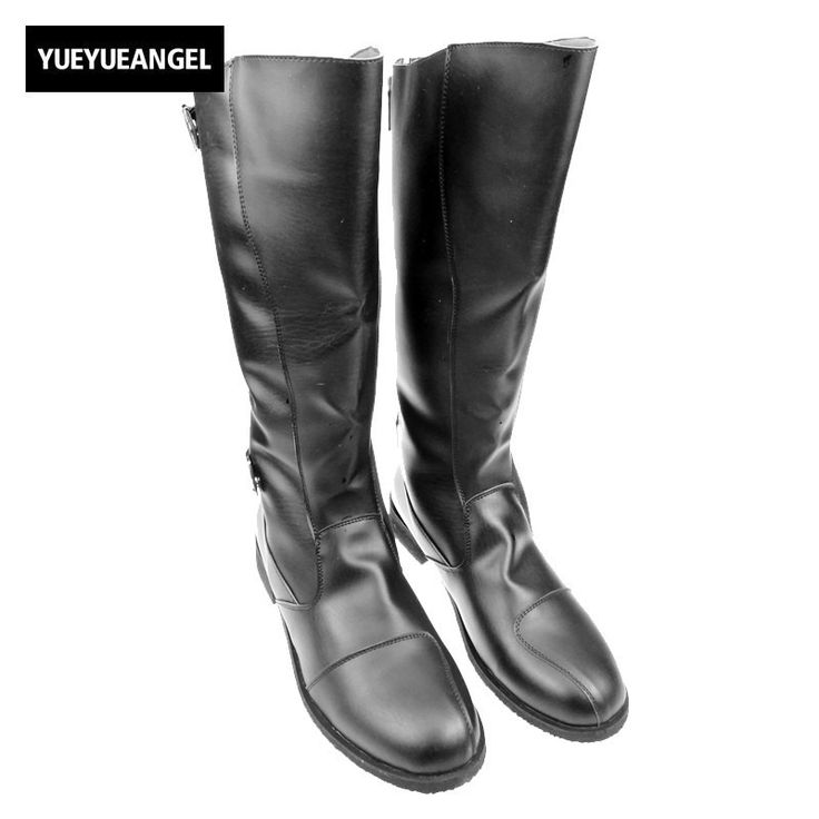 Spring Autumn Black Mens Military Fashion Long Riding Boots For Man Cowboy Punk Gothic Shoes PU Leather Mid Calf Long Boots - http://bootsportal.net/?product=spring-autumn-black-mens-military-fashion-long-riding-boots-for-man-cowboy-punk-gothic-shoes-pu-leather-mid-calf-long-boots