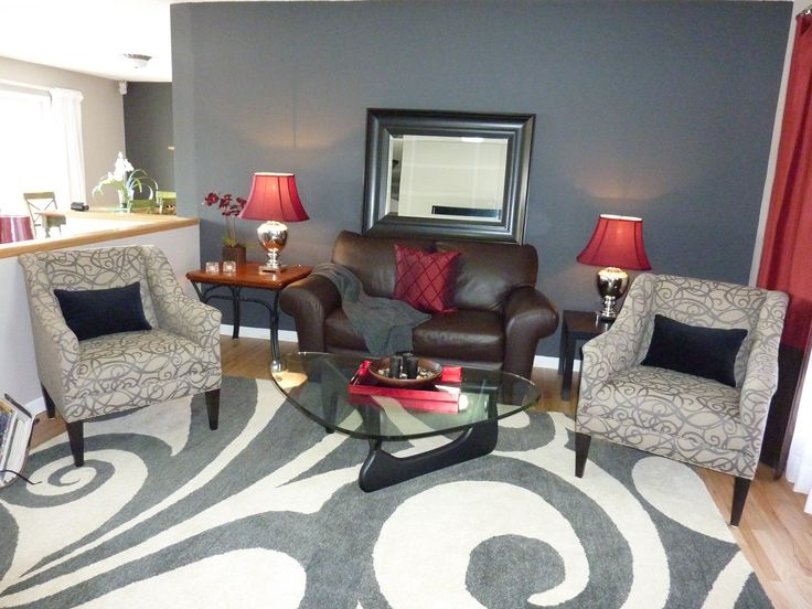 Gray Wall And Red Accent Awesome Swirl Rug