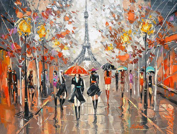 Abend-Boulevard. Gemälde von Dmitry Spiros. Eiffelturm, Malerei, Paris…