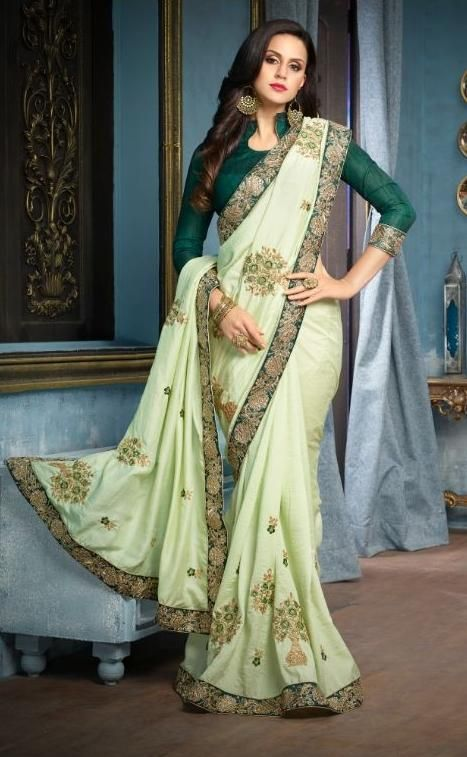 aa3aa7881e31f6 ... green art silk designer . Purchase Sarees Below Inr 4500 –  Banglewale.com