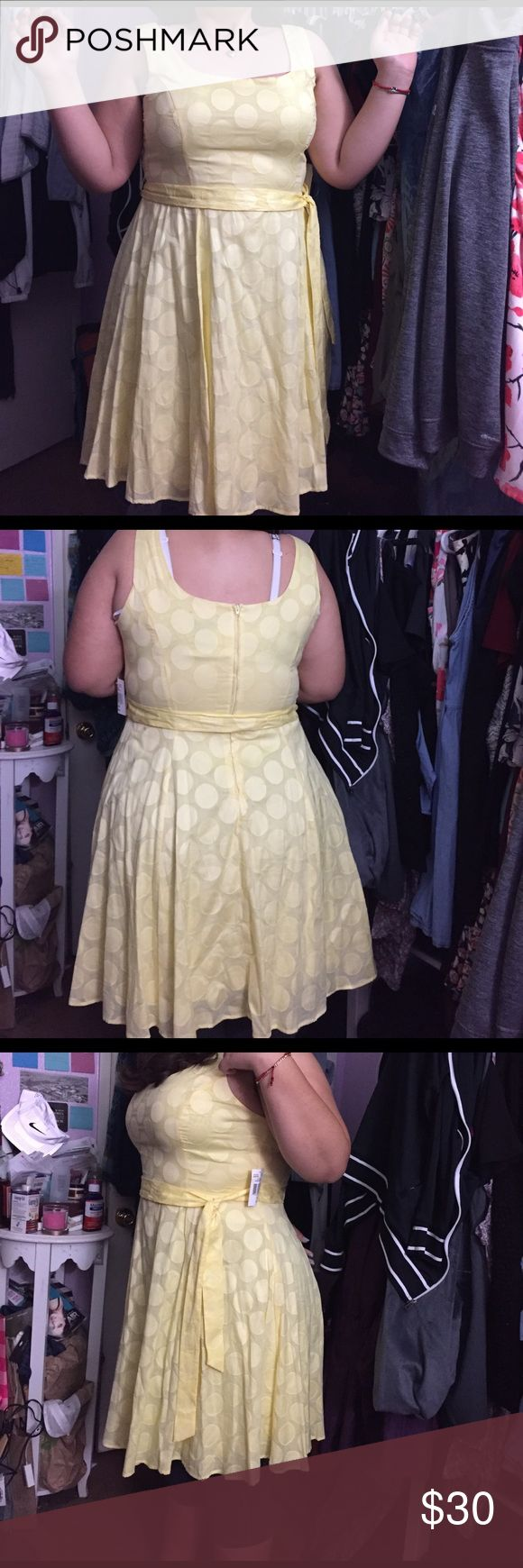 Yellow polka dot sundress NWT B. smart Yellow polka dot sundress with sash. Size 16, laying flat it's 22 inches armpit to armpit with an inch or two of stretch. It's 40 inches long, 100% cotton and lining is 100% polyester. Super cute spring/summer dress. It no longer fits me at the bust 😭 and my sister is not a big fan of dresses. B. Smart Dresses