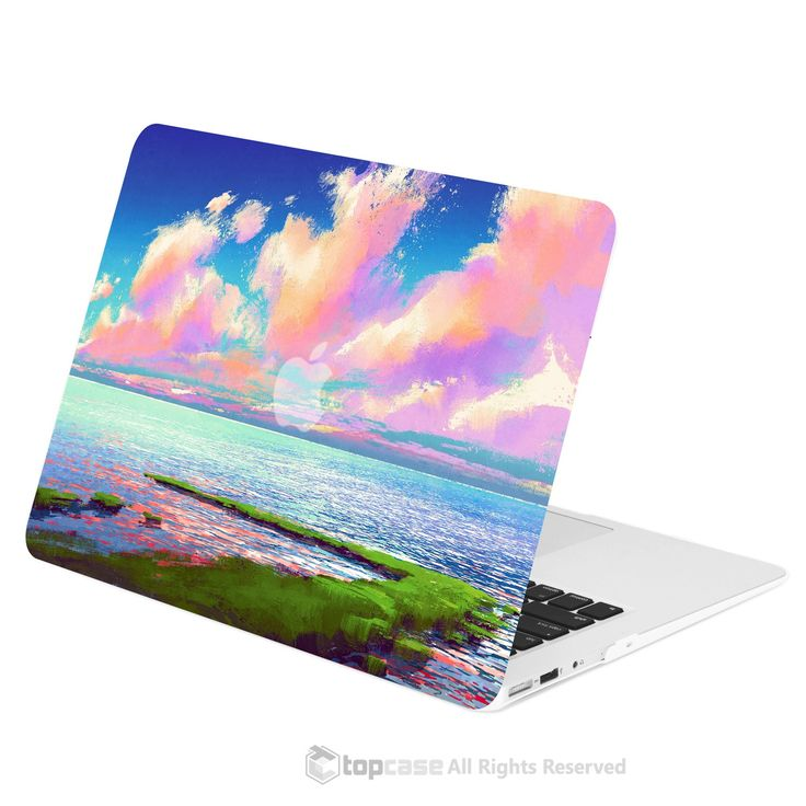 """TOP CASE - Art Printing Series Rubberized Hard Case Cover for Macbook Air 13"""" - Cloudy Lakeside"""