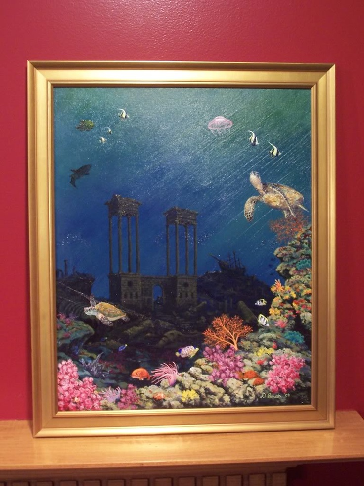 2nd undersea picture I painted. Turtles turned out very well.