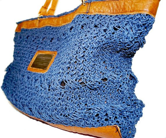 Haute Couture Tote bag  Indigo Blue  Organic Jute by LUXSACCUS, $189.99