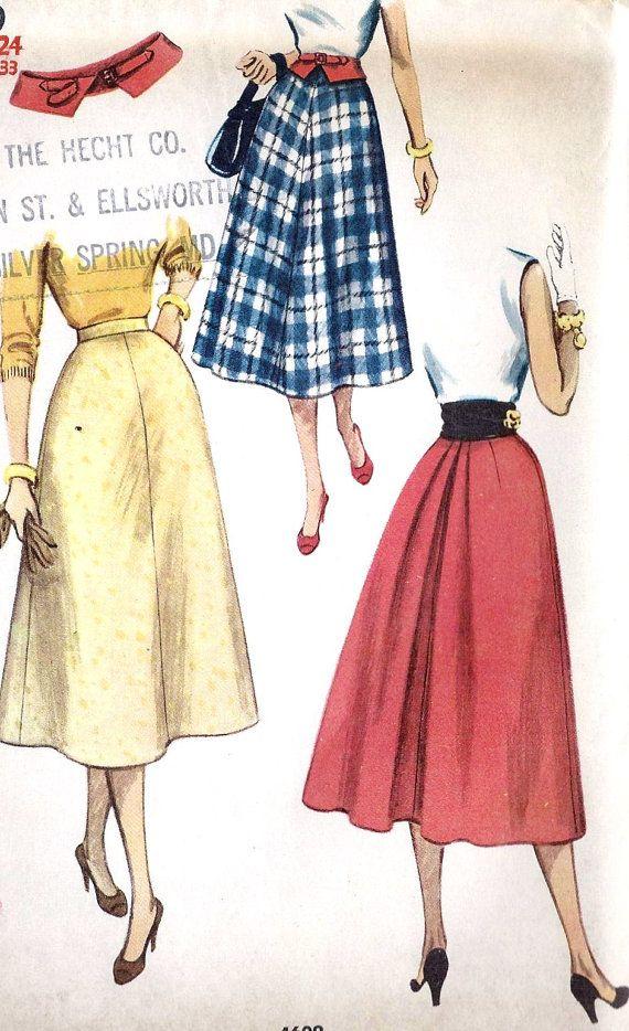 1950s Misses Skirt and Belt Vintage Sewing by MissBettysAttic, $12.00