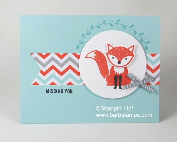 Simple Foxy Friends Card  - Barbstamps!! Barb Mullikin Stampin' Up! Demonstrator