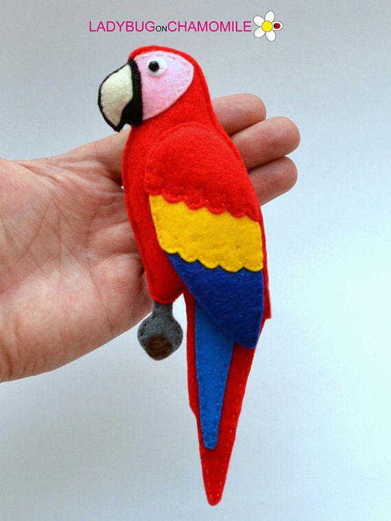 Felt Scarlet Macaw Parrot Stuffed Felt Parrot Magnet Or Ornament
