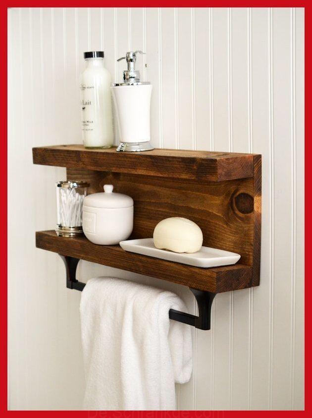 Bathroom Shelf With Towel Bar Metal Hooks Modern Rustic Decor Wall Hanging Cottag Hanging Bathroom Shelves Rustic Bathroom Shelves Bathroom Shelf Decor