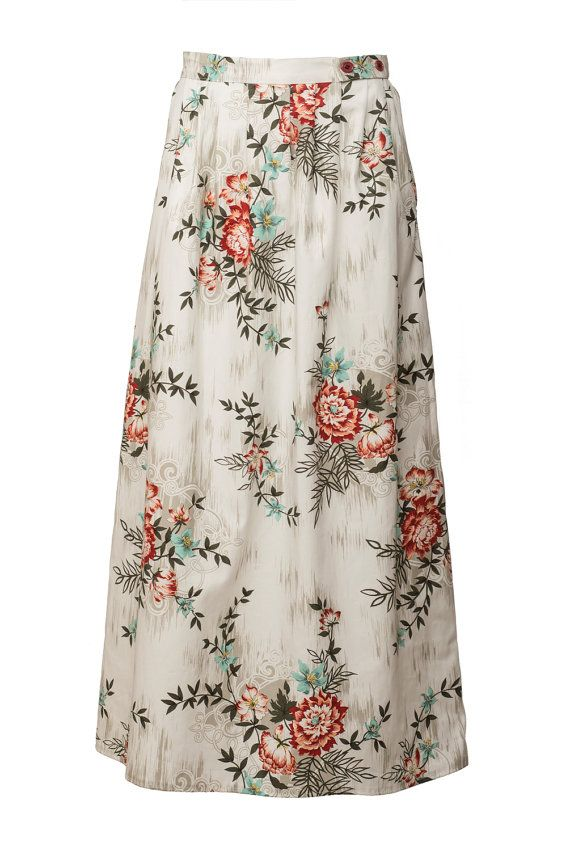 Floral maxi skirt. Long Skirt with pockets. by Julbyjuliagasin, $99.00