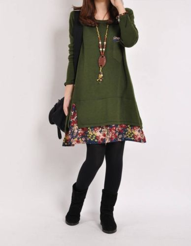 Lady Sexy Fashion Dress Long Sleeve Floral Pieced Loose Casual Pullover Skirt | eBay