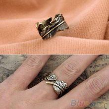 Antigo dos homens das mulheres anel folha pena anel de dedo moda jóias 1OYW(China (Mainland))