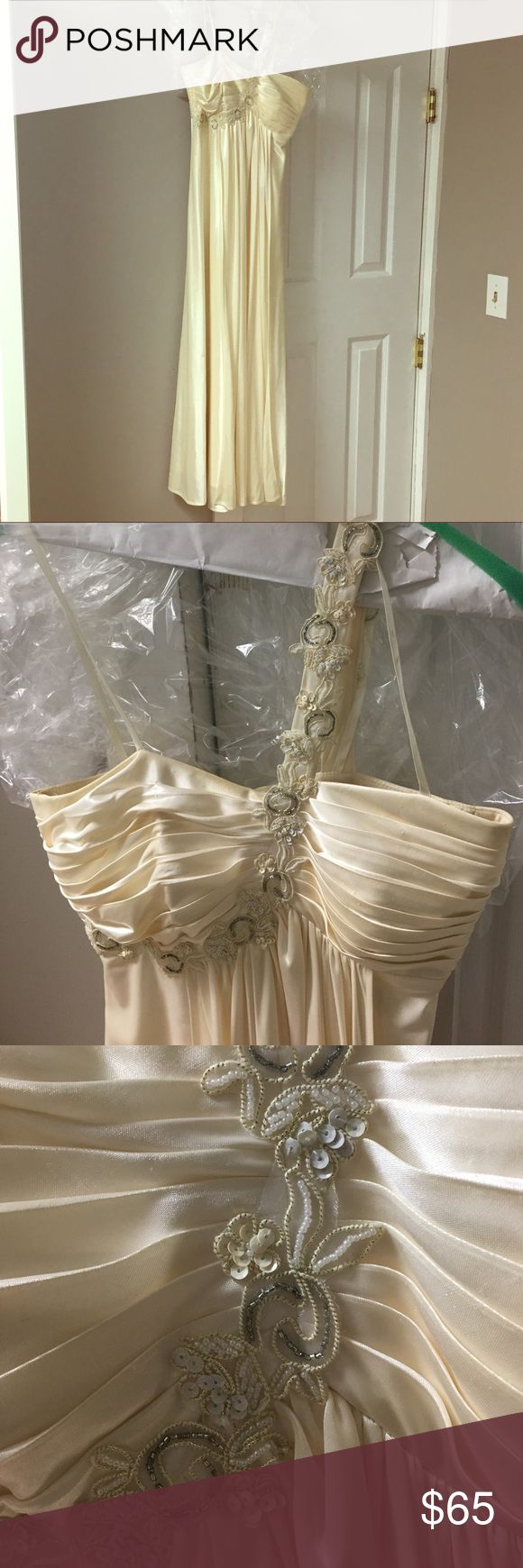 Formal/Prom Dress Cream formal dress worn once with few impurities Morgan & Co. Dresses Prom