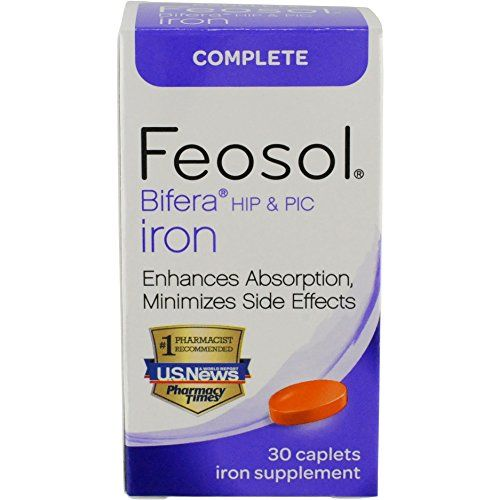 Feosol Complete with patented Bifera Iron, 30 Count  Feosol is the #1 recommended iron supplement by pharmacists and trusted by doctors for decades. Feosol  Complete with Bifera  is a patented formula that contains two forms of iron: heme and non-heme.Heme iron is animal-based, like the iron in steak.  Non-heme iron includes plant-derived iron, like the kind you find in spinach.Feosol - the number one pharmacist recommended iron supplement brand.  Feosol Complete minimizes side-effects...