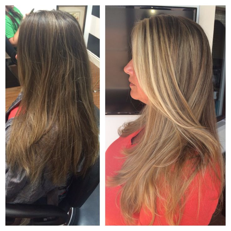 Before And After Sun Kissed Balayage Highlights Long