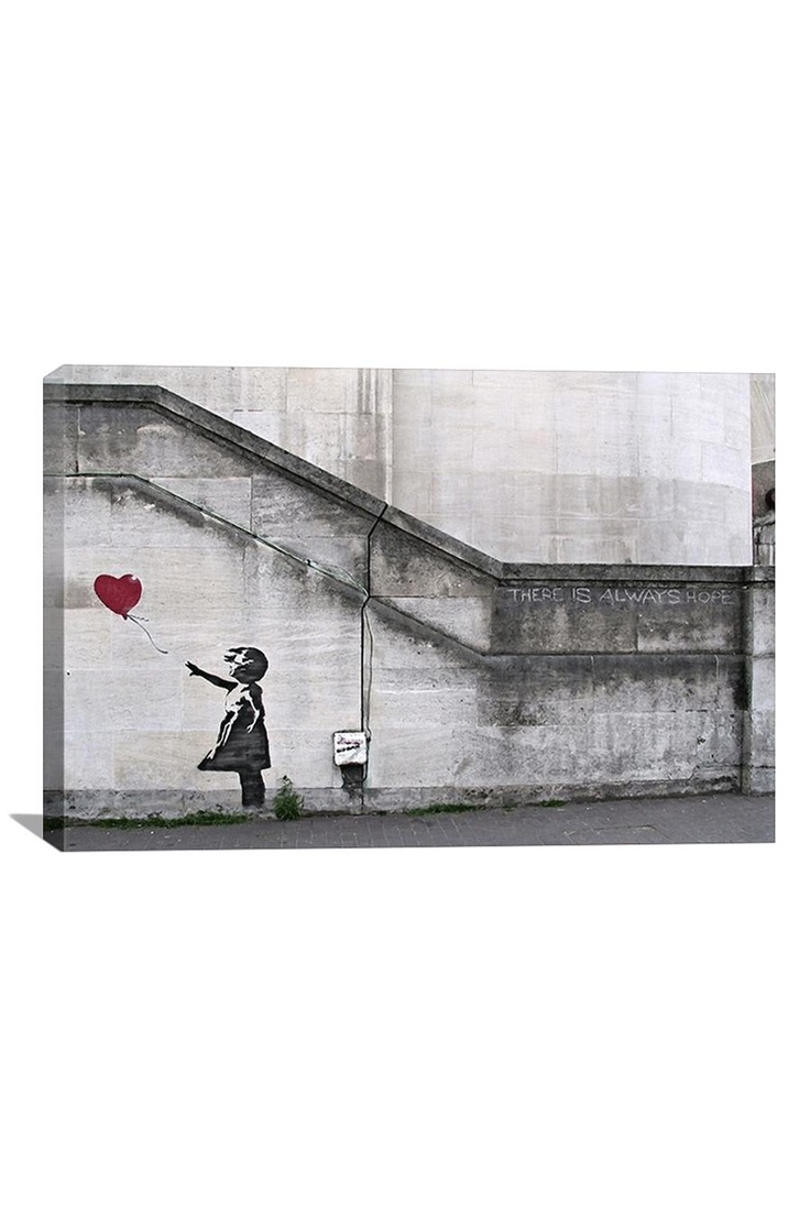 Banksy There Is Always Hope Balloon Girl  26inX18in Canvas Print