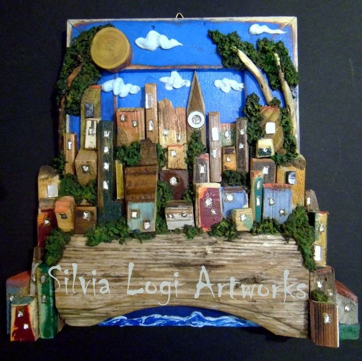#village on a bridge, wall panel in wood mosaic, see more on my FB page https://www.facebook.com/pages/Silvia-Logi-Artworks/121475337893535?fref=photo