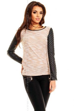 Sweterek- rękawy pikowane  BEŻOWY