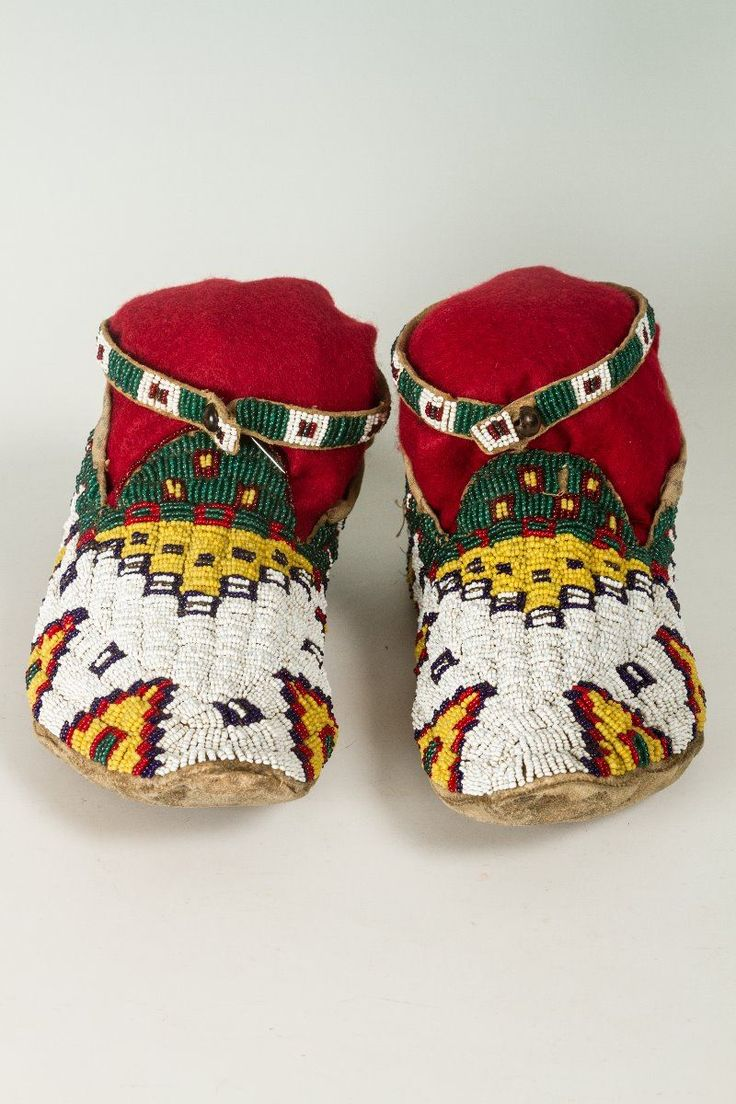 """Cheyenne Beaded Moccasins, 10"""" long - March in Montana"""