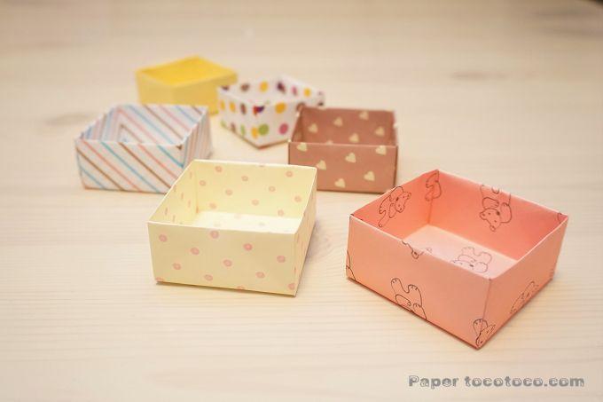 折り紙 升 重ね箱 の折り方 簡単 実用的な蓋付きbox 折り紙 折り紙 箱 簡単 箱 折り方