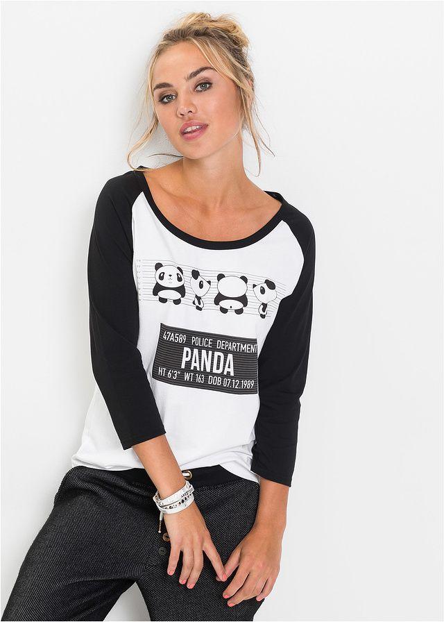 Shirt z motywem pandy Rękawy reglanowe • 54.99 zł • bonprix