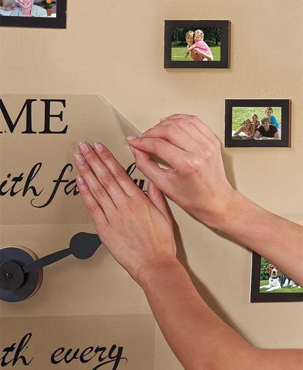 Sentiment Photo Wall Clock Set Only 10 In Stock Order Today! Product Description: The Sentiment Photo Wall Clock Set is sure to be a conversation piece. Every h