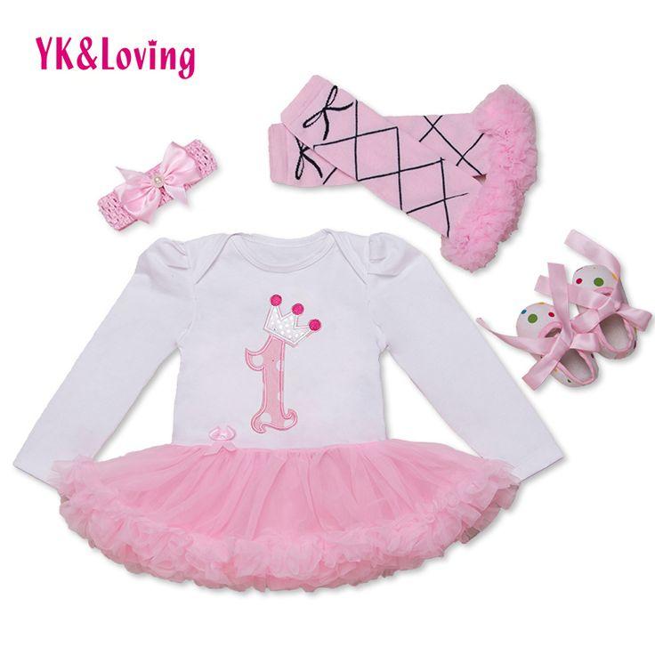 2016赤ちゃん女の子服ドレスの女の子ボディスーツ洗礼ガウン次の女の子プリンセスパーティーchilden服セット面白い誕生日