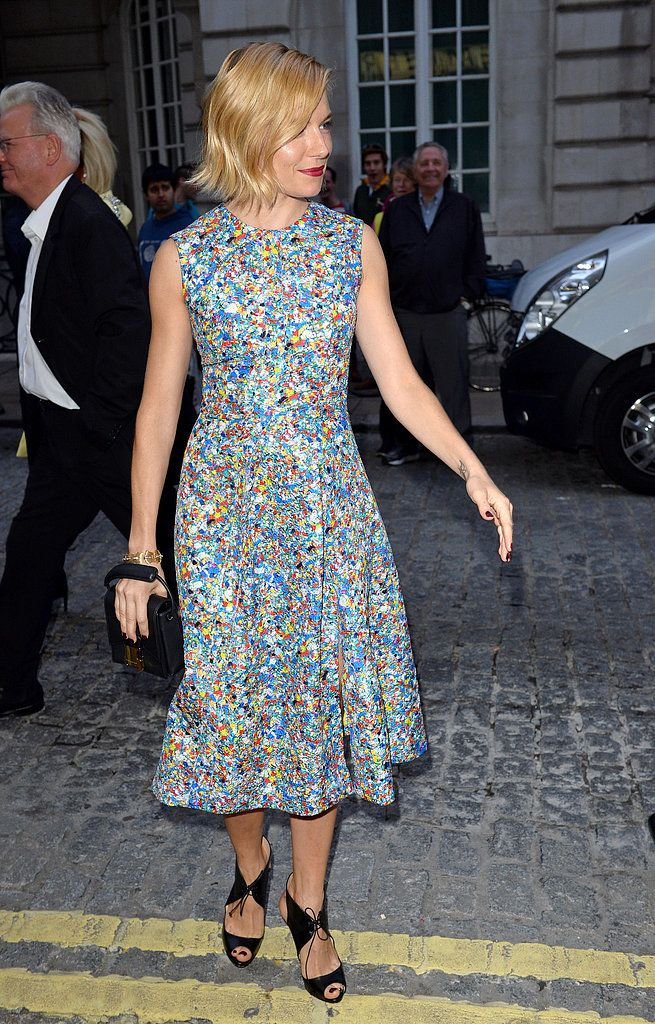 Sienna Balances Her Printed Dresses With Sleek Coordinated Accessories