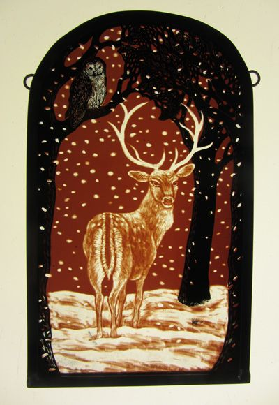 """""""Herne the Stag"""" by stained glass artist Tamsin Abbott"""