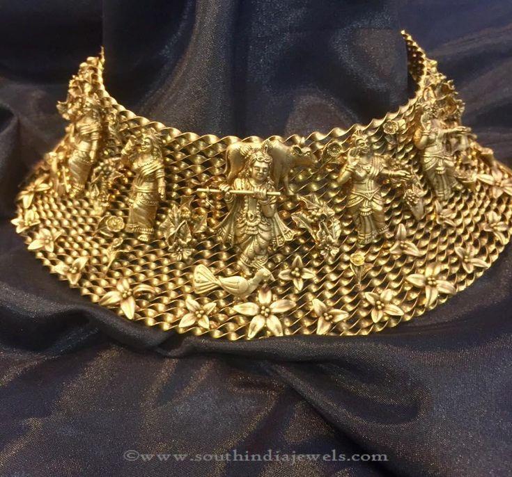 Gold Choker Necklace, Gold Antique Choker Necklace, Gold Heritage Choker Necklace.