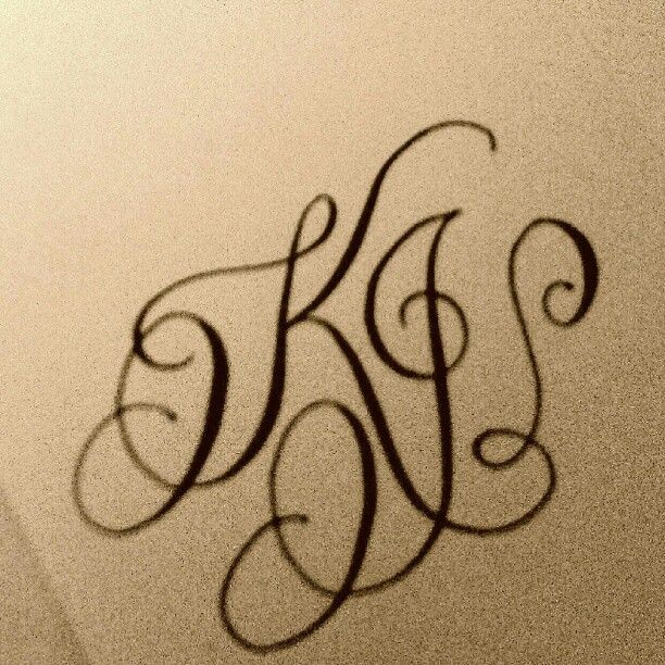 Calligraphy Monogram K J Calligraphy And Stationery