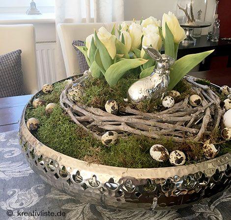 osterdeko basteln mit tulpen moos kranz und eiern schale bepflanzung pinterest osterdeko. Black Bedroom Furniture Sets. Home Design Ideas