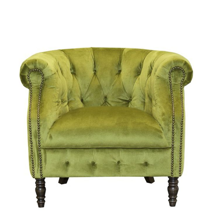 Add a striking look to any room in your home with the Ollena Chair in grass green velvet.