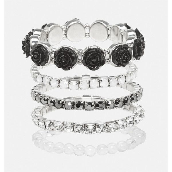 Avenue Black Flower Stretch Bracelet Set ($6.40) ❤ liked on Polyvore featuring jewelry, bracelets, black, plus size, artificial jewellery, stretch jewelry, goth jewelry, avenue jewelry and imitation jewellery