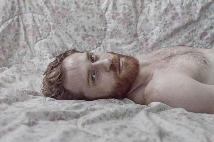 """Nir Arieli's portrait series """"Men"""" places men in traditionally feminine spaces and postures, illuminating the human characteristics that have, over time, become decidedly feminine traits."""