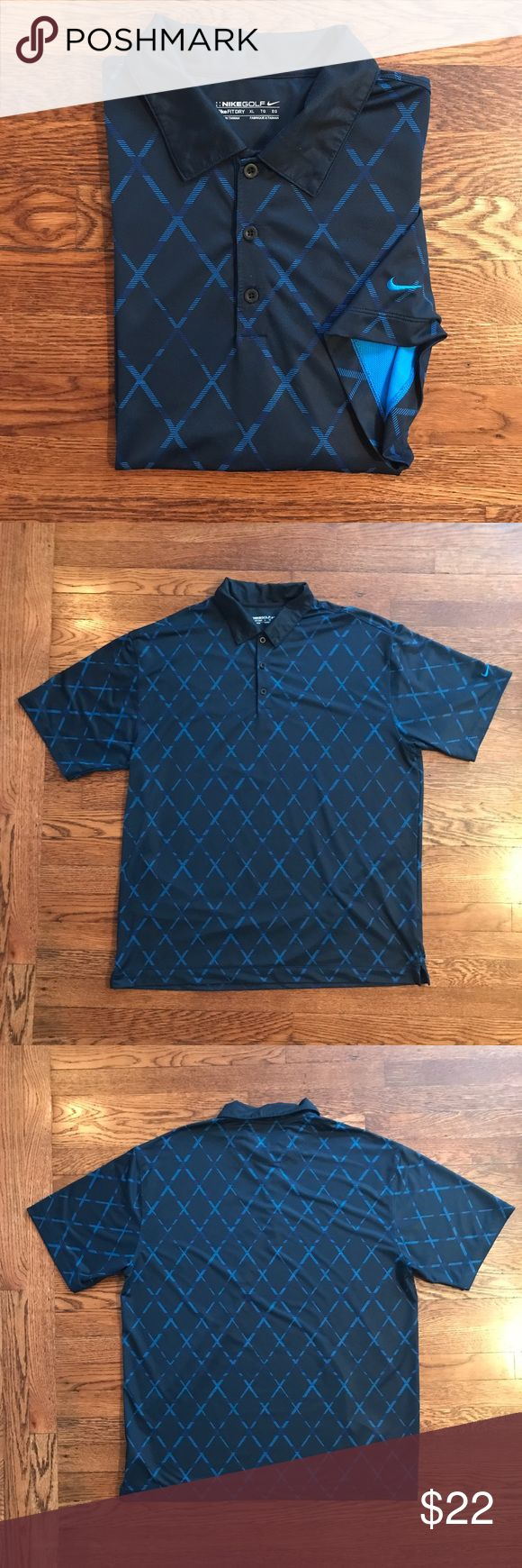 Men's Nike Golf Dry Fit Polo Excellent condition! Dry fit golf polo with blue design. The only flaw is some small marking on the side of the Polo barely noticeable, no holes.  •  • No Trading  • Reasonable Offers are Always Welcomed  • Ask Me For a Bundle Discount!! Nike Shirts Polos