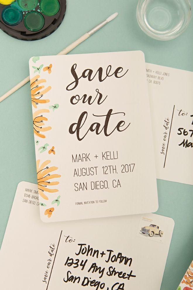 Check Out These Adorable Free Printable Save The Date Postcards Wedding Rings And Invitations Pinterest Envelopes Watercolor