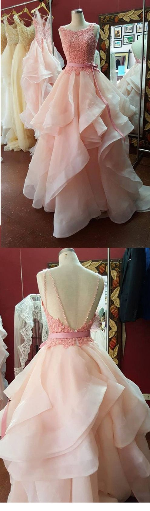Pastel Pink Primrose Wedding Dress / Bridal Gown/ Bridal dress / Prom dress / Formal dress,backless prom dresses,pink evening dresses, wedding dresses open back, bridal dresses