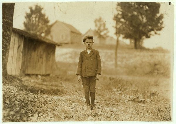 "LEWIS HINE:  ""Eugene Bell, House 48 Loray Mill. Said he was 12 years old. (question).  'Leastwise that's what mother says.' (I am convinced that many children believe they are as old as they say they are,--their parents have misstated their ages so long.) Worked most two years--sweeping. Gastonia, North Carolina.""  1908"