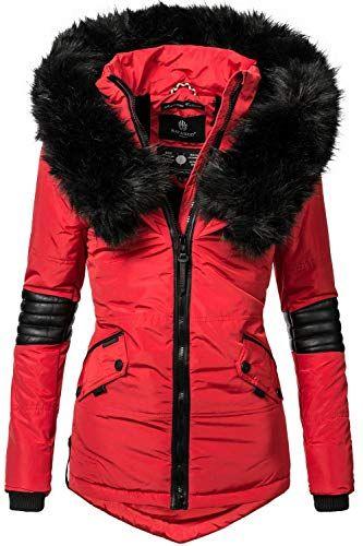 Navahoo Nirvana Veste d hiver pour Dame avec Une Capuche en Fausse Fourrure  Noire Rouge L 90bacbc3ed3c