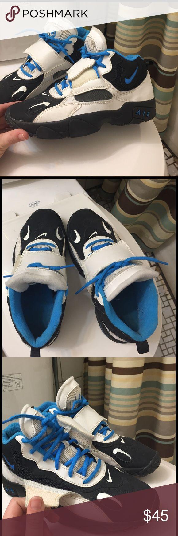 Nike Turfs. BLACK WHITE & BLUE (Velcro) Used. Still look new. No box. Nike Shoes Athletic Shoes