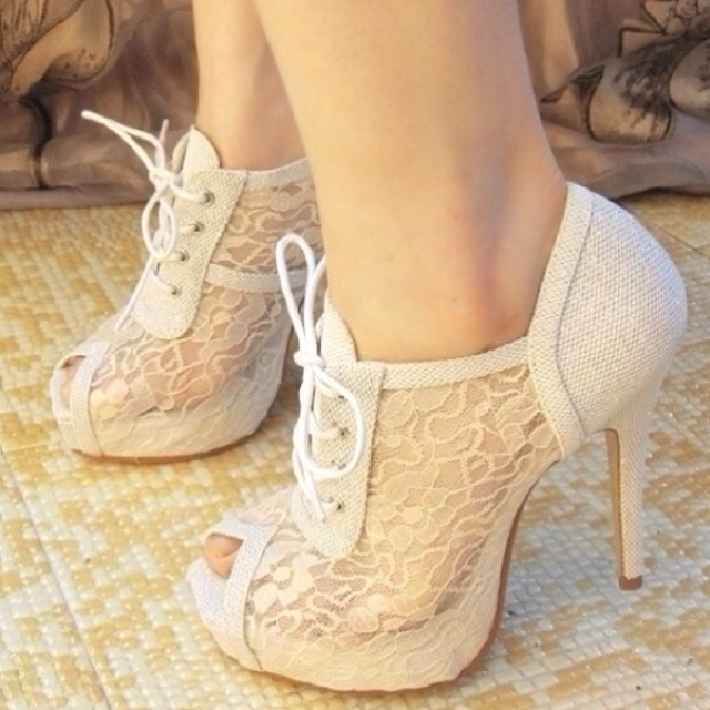 1000  ideas about White Lace Heels on Pinterest  White boots