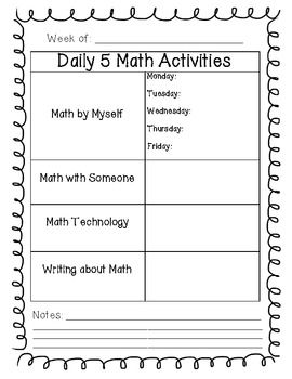 Daily 5 Math Planning Sheet FREEBIE LOVE this as Yaya does haVE MATH THAT FALLS UNDER ALL THESE CATEGORIES.