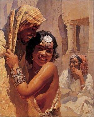 Peintre Polonais Adam Styka (1890 - 1959) ,Huile sur toile , Titre : Couple d'amoureux