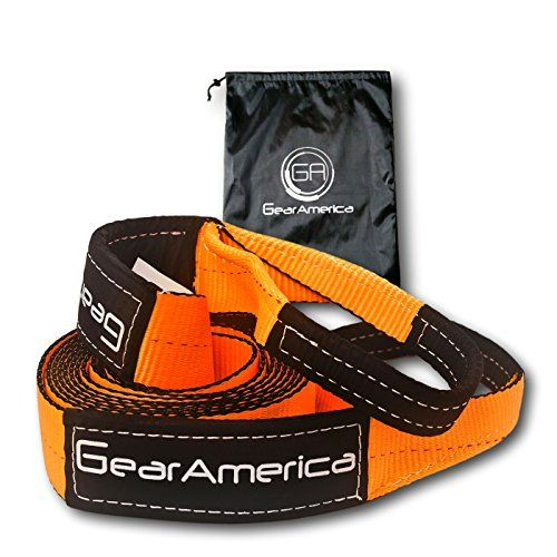 """GearAmerica Premium Tow Strap 3"""" x 20'   30,000 LBS (15 US Tons) Capacity   Heavy Duty Towing and Recovery   Reinforced Eyes and Protective Sleeves   Storage Bag + Velcro Strap   CE, GS, TUV Certified - NEED TO PULL A TRUCK OUT OF A DITCHorTOW THAT BIG TREE TRUNKoff your property? - Our Heavy-DutyTow Strap can handle any job you may throw at it.Idealfor towing your Pickup, SUV, Jeep, Boat, Trailer, ATV or Snowmobile. NEVER GET STRANDED AGAIN,On or ..."""