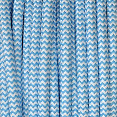 Câble Textile Zébré Bleu Turquoise - Câbles textiles et luminaires déco