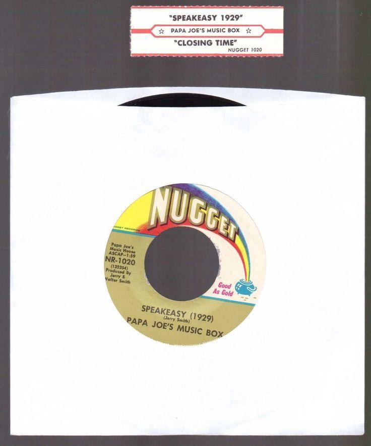 """Jazz, PAPA JOE'S MUSIC BOX, Speakeasy 1929-Closing Time NR 1020 """"1968"""" EXE…"""