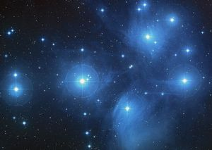 Pleiades star cluster, aka the Seven Sisters.