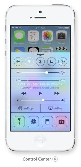 Apple iOS 7   Control Centre